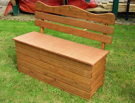 Wooden Garden Storage Box Seat - Tony Ward Furniture