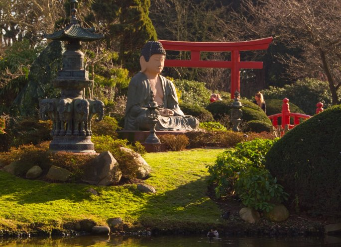 Japanese Garden Island With Buddha