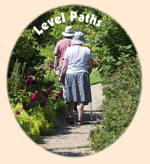 the shows two people walking in a garden with the heading 'level paths'