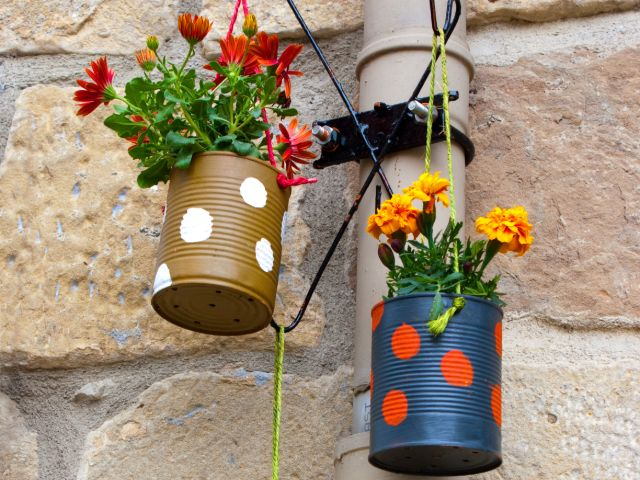 Plant pots made out of tin cans