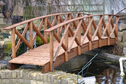 Rustic Low Rail Garden Bridge