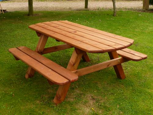 Oval Ended Garden Picnic Bench: 6ft