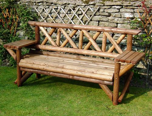Rustic Table Garden  Seat: 3 Seater Rustic Table Seat