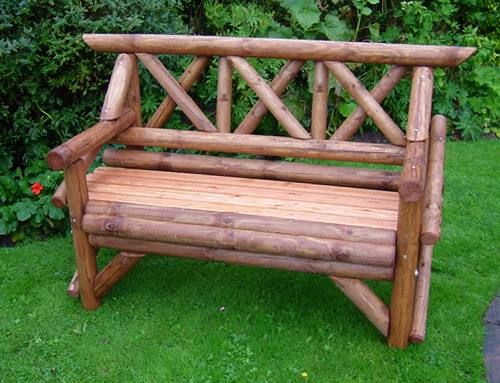 Rustic Garden Seat: 2 Seater Rustic Seat